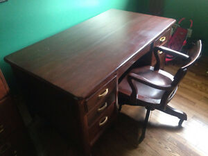 Antique desk,filing cabinet and chair