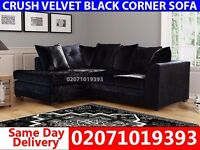 Black Crushed Velvet Corner Sofa--Order Now!