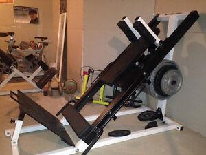 Leg curl/extension, leg press/squat, Poids libres, banc Romain