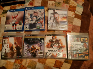 Two Ps4 Games and 5 PS3 Games for sale