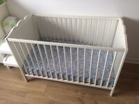 Baby cot, bed, crib 124x60x80 IKEA with mattress