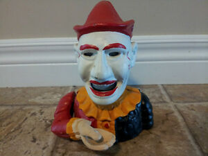 Vintage Cast Iron Mechanical Clown / Jester Coin Bank London Ontario image 1