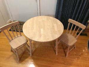 Solid Maple Children's Table & 2 Chairs (unfinished)