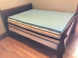 Queen Bed, Mattress, Boxspring and Foam Topper