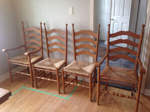 Solid Pine back Chairs with Rush Seats