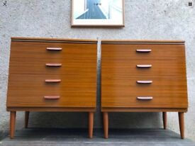 Retro Pair of Matching Chest of Drawers Mid Century Vintage