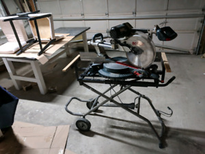 """12"""" miter saw sliding compound with rolling gravity stand"""