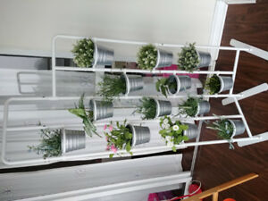 Ikea Plant Stand including Artificial plants and pots.