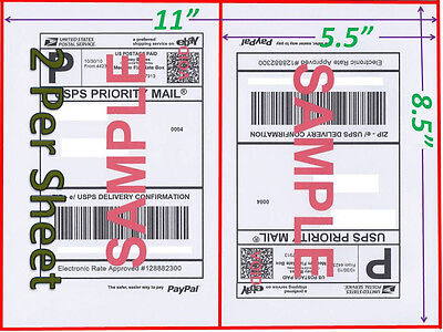 500 Self Adhesive Shipping Blank Labels 8.5x5.5 Paypal