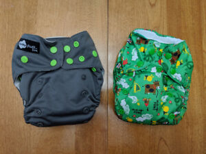 2 One-Size Cloth Diapers - 1 Funky Fluff Lux, 1 TotsBots V3