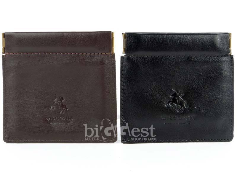 135bf2d6a NUEVO complemento para hombre monedero de cuero superior por Visconti  marrón oscuro negro práctico clásico