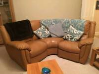 6 Seater Leather Brown Sofa with 2 Electric recliners and footstool