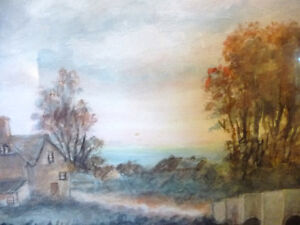 """Original Watercolor """"Village In The Country"""", Carrie Walker 1935 Stratford Kitchener Area image 4"""