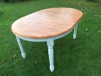 Gorgeous Rubber Wood Dining Table with Extension Leaf. Annie Sloan painted legs