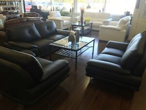 Genuine Leather sofa love seat and chair