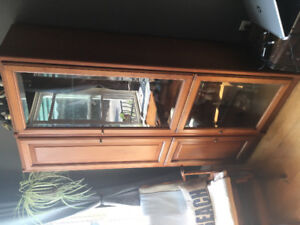 Wood Cabinet with Glass Shelves and Windows