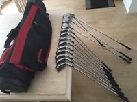 Wilson full set of golf clubs, irons 3-SW, bag, driver, 3 wood, 5 wood & putter. Excellent condition