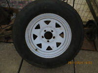 ST 205 75 15 Trailer tire and rim a replacement for (F 78-15 ST)