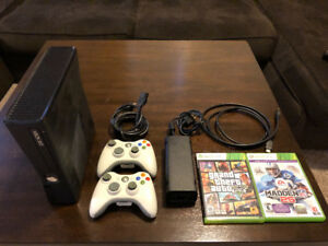Xbox 360 Slim 4GB with 2 controllers, GTA V, and Madden 25