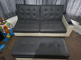 Sofa bed and stool with storage