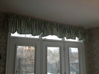 Two curtain panels - green/white