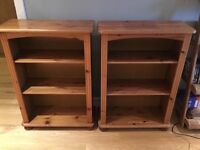 Two wooden shelving units