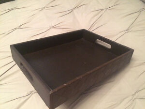 Brown Faux Leather Tray