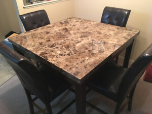 High top square table + chairs, brand new, barely used