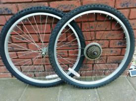 NEW COMPLETE - Pair 26 inch Bicycle Wheels. Tyres, Tubes & 5 Speed Freewheel