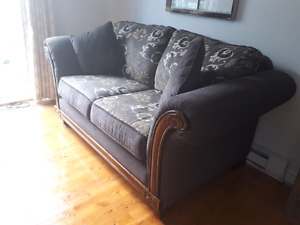 Loveseat from the Brick in neutral paisley