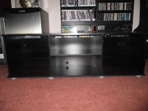 """TV/STEREO STAND -UP TO 65"""" TV'S GLASS DOORS - BLACK - LIKE NEW"""