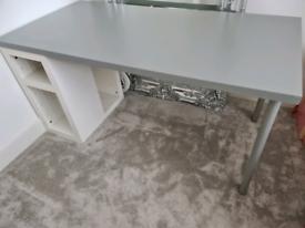 White grey ikea desk with shelves