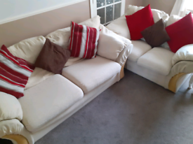 3 and 2 Seater Cream Sofa