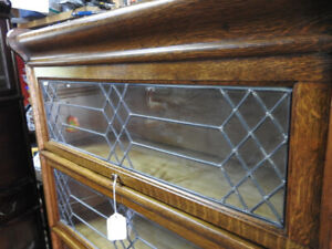 antique 3 glass level (2 lead) barrister bookcase w/drawer