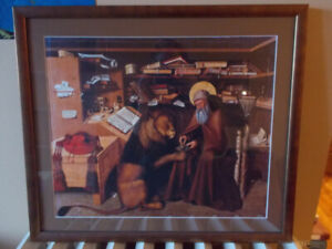 Beautiful framed print of St. Jerome in his study