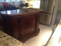 Beautiful wood bar with marble top