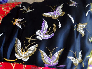 elegant CHINESE THROW satin BUTTERFLIES black EMBROIDERED quilt