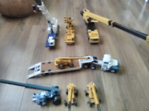 (7) 1:50 diecast model cranes & (1) Mack truck and trailer