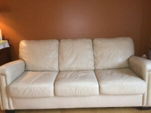 Leather sofa, loveseat and chair