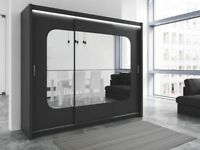 BRAND NEW 250cm WIDE BARCELONA 3 DOOR SLIDING WARDROBE WITH FULL MIRROR + LED LIGHT IN BLACK WHITE