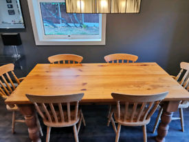 Chunky Solid pine farmhouse table plus chairs