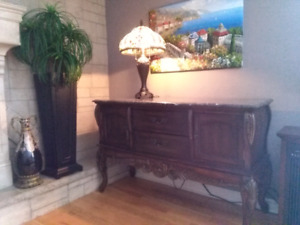 Antique style marble top buffet sideboard bar