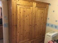 Large wooden wardrobe with drawers from The Creamery