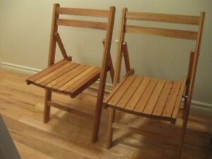 TWO NICE SOLID FOLDING WOODEN CHAIRS-$25 For both or $15 each