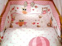 Brand New 3 pcs Owl Baby Bedding Set 90/120 cm ,100/135 cm cot bed cover Bumper