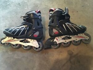 Red and black rollerblades