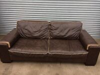 Dfs 3-1-1 brown leather sofas