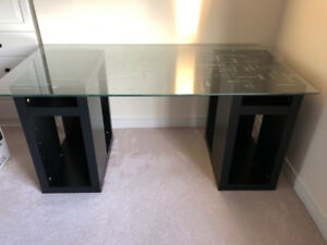 Glass table top desk and swivel chair