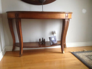 "Large Oval Sofa Table w/ inlay 56"" X 20"" X 35""-small water stain"