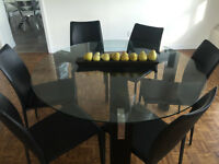 Contemporary Glass Dining Room Table with 6 Leather chairs